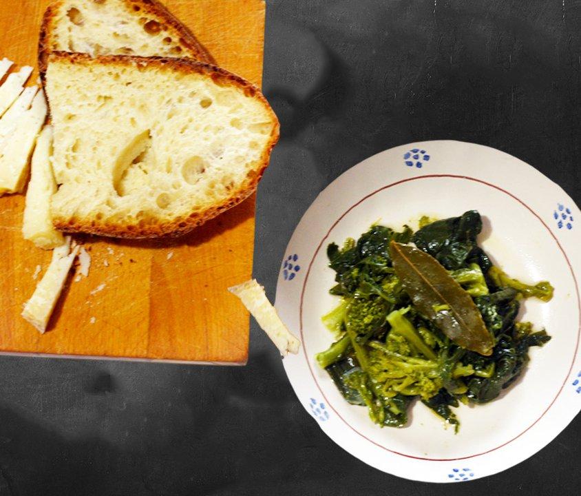 Broccoletti in alloro e formaggio